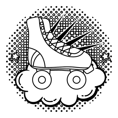 line roller skate style with cloud and stars vector illustration