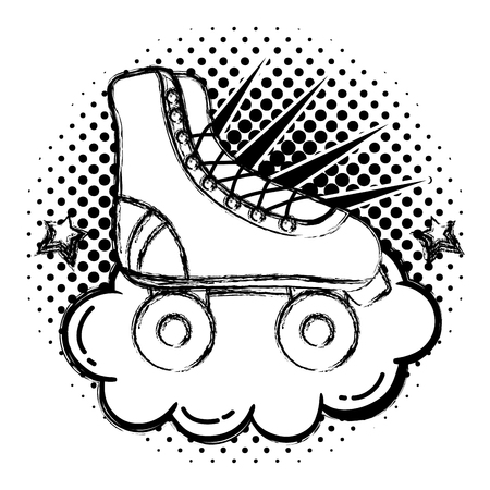 grunge roller skate style with cloud and stars vector illustration