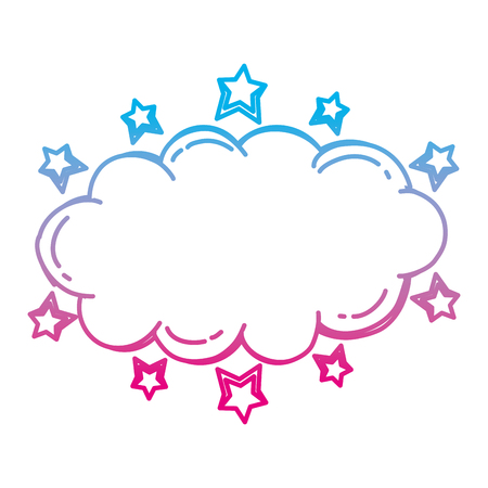 degraded line nature fluffy cloud with stars style vector illustration 일러스트