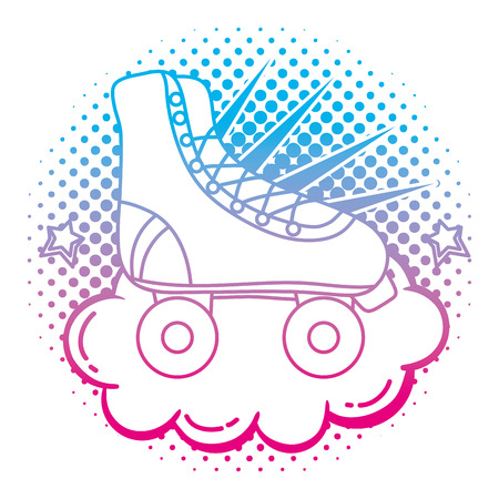 degraded line roller skate style with cloud and stars vector illustration