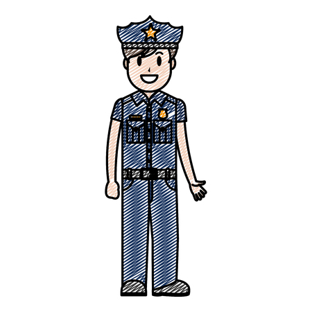 doodle policeman officer with uniform and hat design vector illustration