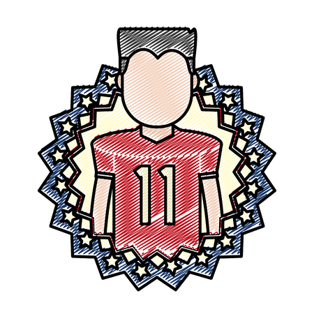 doodle football player with usa tag patriotic nation vector illustration 向量圖像