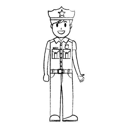 grunge policeman officer with uniform and hat design vector illustration