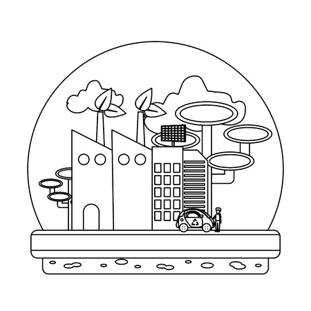 line ecology factory with solar energy and trees vector illustration Ilustração