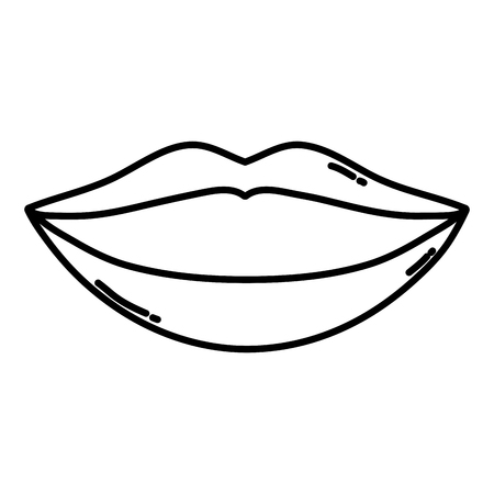 line beauty mouth with makeup lips style vector illustration