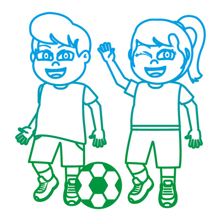 degraded line funny girl and boy children with soccer ball vector illustration