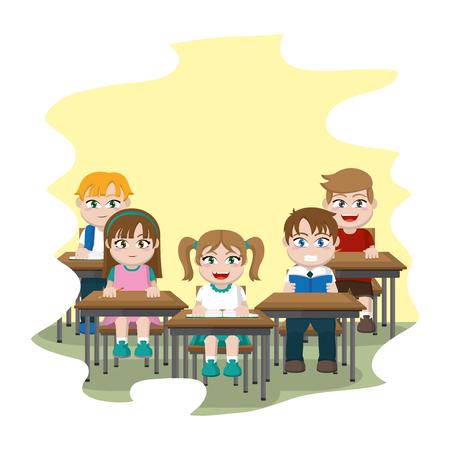 students sitting school desk in the classroom vector illustration