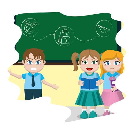 happy children students writing blackboard  vector illustration Illustration