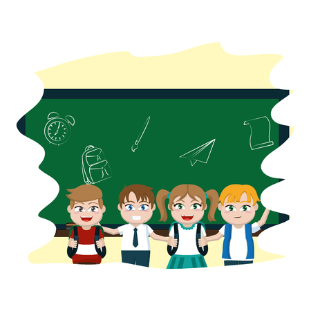 girl and boys together in the blackboard  classroom vector illustration Illustration