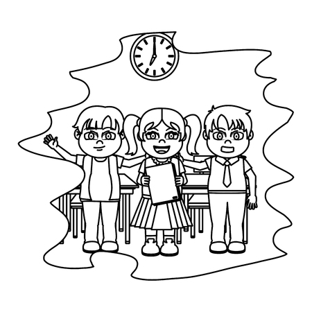 line students together in the classroom with clock and desks vector illustration