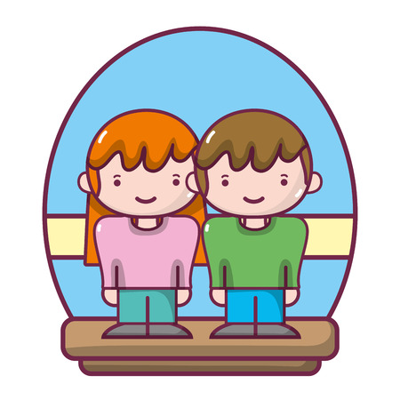 happy couple woman and man together vector illustration