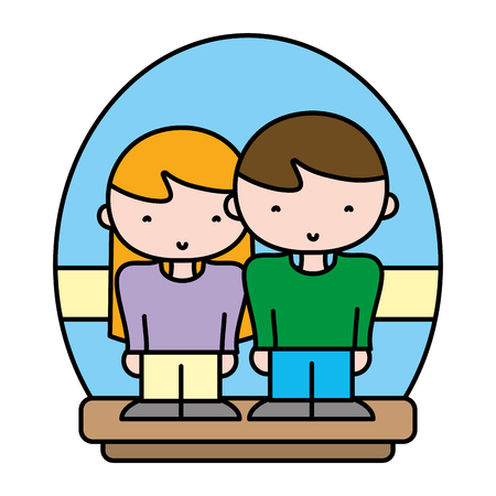 color cute couple woman and man together vector illustration