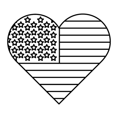 line heart usa flag nation symbol vector illustration Foto de archivo - 103467219