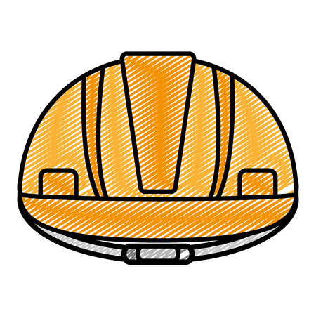 doodle helmet protection equipment industry construction vector illustration