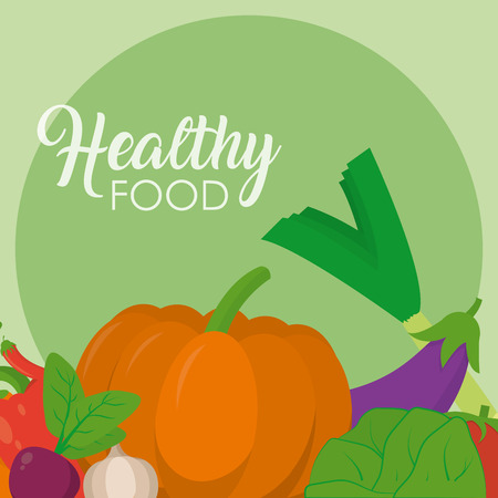 Fresh and healthy vegetables vector illustration graphic design