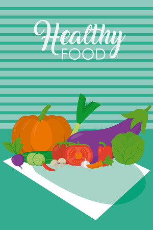 Fresh and healthy vegetables on tablecloth vector illustration graphic design Illustration