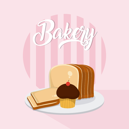 Delicious bakery bread and desserts Delicious and fresh bakery on dish vector illustration graphic design Illustration