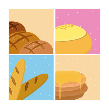 Set of bakery products icons vector illustration graphic design