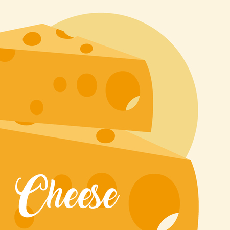 Cheese dairy food over yellow background vector illustration graphic design