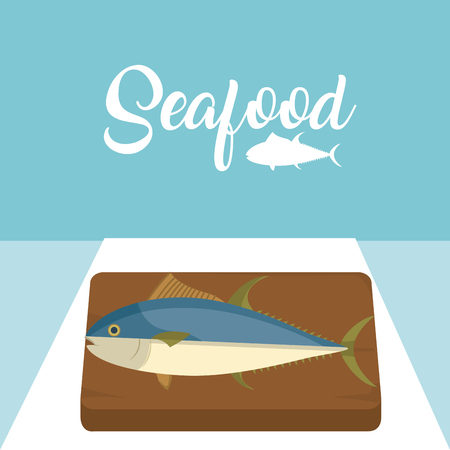 Fish on wooden table vector illustration graphic design