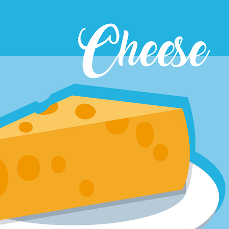 Cheese on dish vector illustration graphic design Ilustração