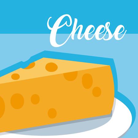 Cheese on dish vector illustration graphic design Illustration