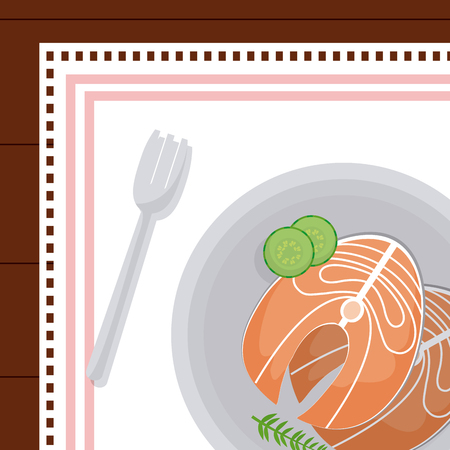Salmon steaks on dish with fork vector illustration graphic design