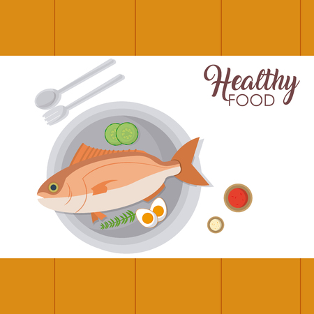 Fish seafood on dish with cutlery vector illustration graphic design