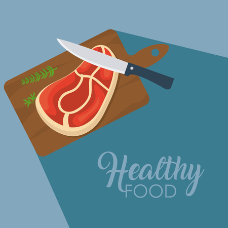 Beef steak on cutting board with knife vector illustration graphic design