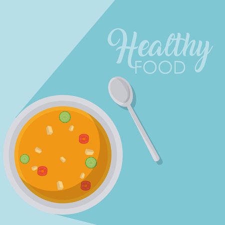 Delicious soup with spoon on tablecloth vector illustration graphic design Ilustrace