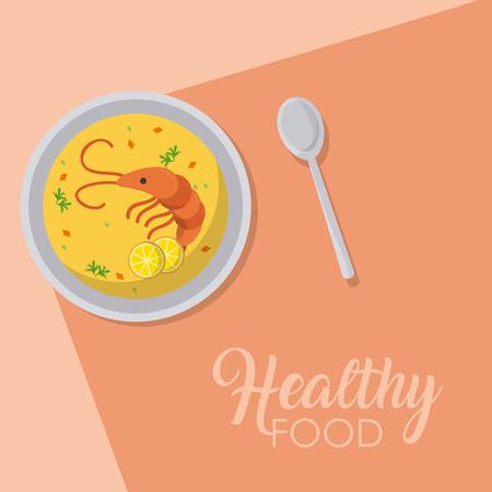 Delicious shrimps seafood soup vector illustration graphic design