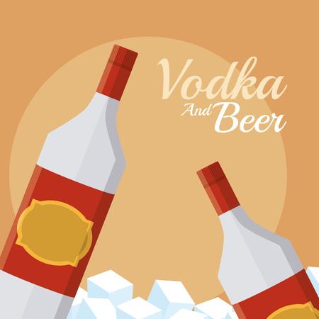 Vodka bottles on ice cubes vector illustration graphic design