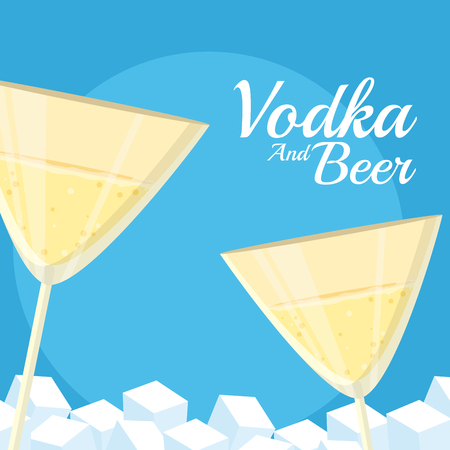 Vodka glass cup with ice cubes vector illustration graphic design 矢量图像
