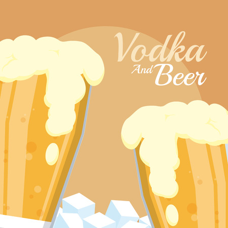 Cold beer cups with ice cubes vector illustration graphic design Illustration