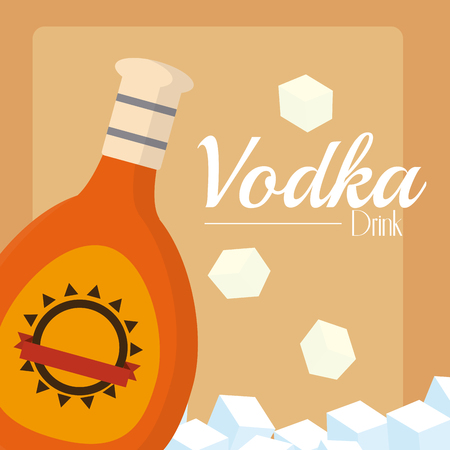 Vodka bottle with ice cubes vector illustration graphic design Illustration