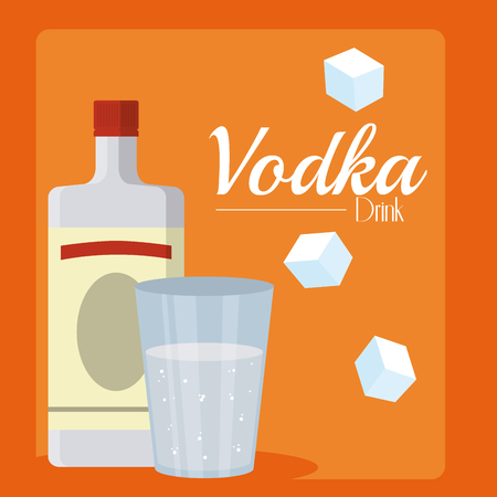 Vodka bottle with glass cup vector illustration graphic design