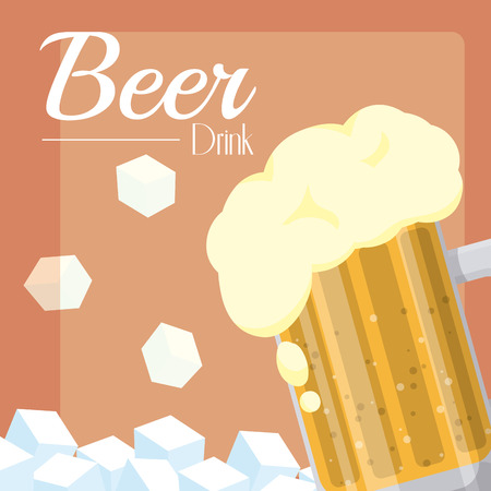 Cold beer cup with ice cubes vector illustration graphic design