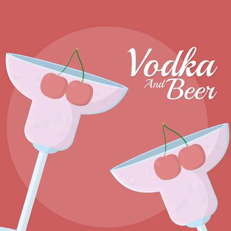 Vodka cocktails with cherry vector illustration graphic design