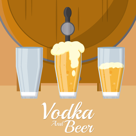 Beer barrel with cups vector illustration graphic design Illustration
