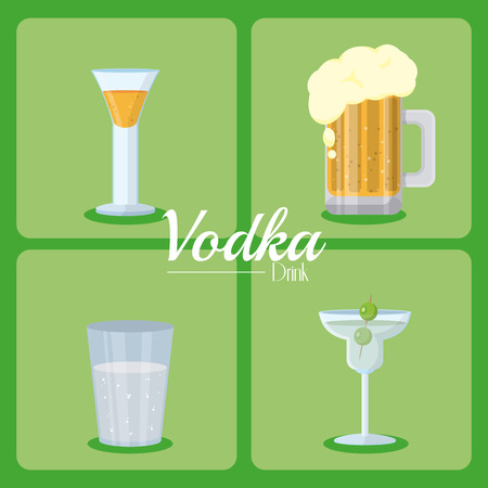 Set of vodka icons collection vector illustration graphic design