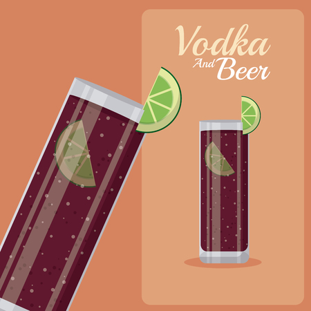 Vodka cocktail with soda and lemons vector illustration graphic design