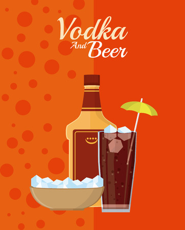Vodka bottle with soda cup and ice cubes vector illustration graphic design Çizim