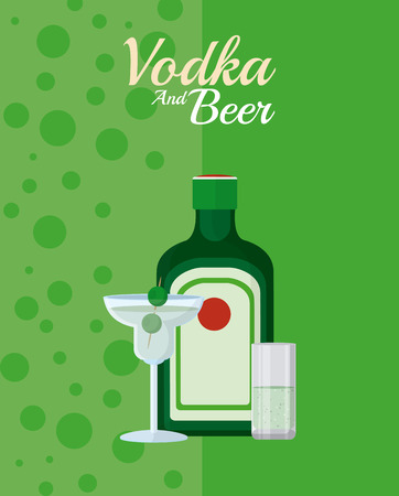 Vodka bottle with martini cocktail and shot vector illustration graphic design