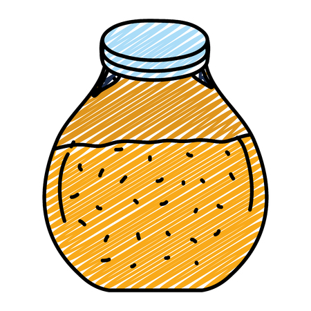 doodle mason jar with delicious healthy juice vector illustration