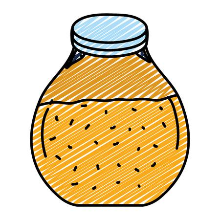 doodle mason jar with delicious healthy juice vector illustration