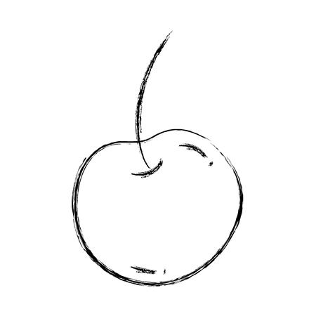 grunge delicious cherry organic fruit vitamin vector illustration