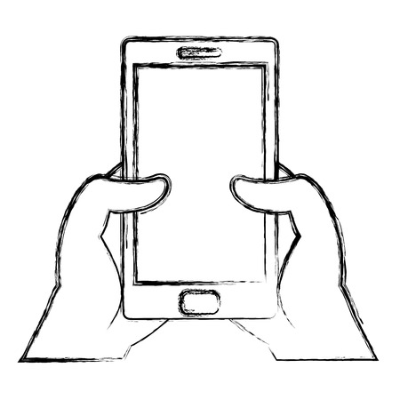 grunge hands with smartphone technology communication message vector illustration