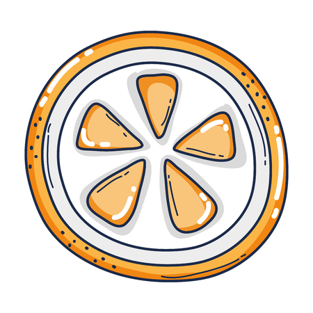 delicious fresh slice orange fruit vector illustration