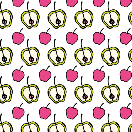 color delicious apples fruits nutrition background vector illustration