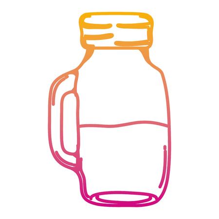 degraded line delicious fresh fruit juice mason vector illustration Ilustração